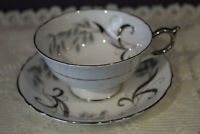 PARAGON TEA CUP AND SAUCER SET SILVER TRIM WITH WHEAT DESIGN ROYAL WARRANT