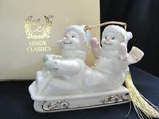 Lenox Classic Christmas Ornament Snowmen Snow Children on Sled 24k NIB