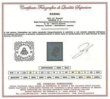 Parma 1852 - 40 c. azzurro - Sassone 5 - Certificato - Usato ASI014