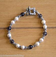 4s Sterling Silver 9-7mm White Pearl & Smoky Quartz Bracelet w Bali Toggle Clasp