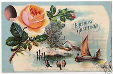VINTAGE BIRTHDAY GREETINGS POSTCARD SAILBOAT RED BROWN BIRDS PINK ROSES FLOWERS