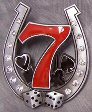 Pewter Belt Buckle Gamble Lucky 7 Horseshoe Dice NEW