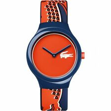 Lacoste 2020113 Unisex Goa Silicone Blue Strap Orange/Red Dial Watch RRP £50