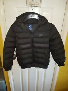 Kid's Nike Puffa Hooded Jacket, Black,Kids Medium, Age 10-12 Year Old.