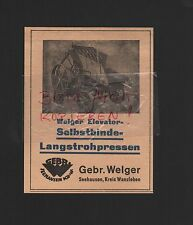 SEEHAUSEN, Werbung 1929, Gebrüder Welger Elevator-Selbstbinde-Langstrohpressen