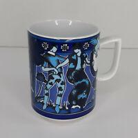 Vintage Langenthal Bopla FORTUNA Playtime Series Porcelain Mug Flying Pigs Blue
