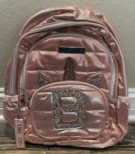 Justice Unicorn Rose Gold Pink Initial B Backpack Nwt New