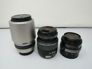3 CAMERA LENS SIGMA 100-300MM LENS MINOLTA MAXXUM 35-70MM LENS SONY N50 18-55MM