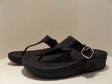 FITFLOP Black Leather THE SKINNY Slip On THONG SANDALS w/Buckle Ladies Sz:US11