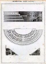 Architettura Civile: Colosseo. Roma. Incisione su Rame + Passepartout. 1866