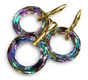 ORIGINAL CRYSTALS *VITRAIL RING* EARRINGS+PENDANT GOLD PLATED STERLING SILVER