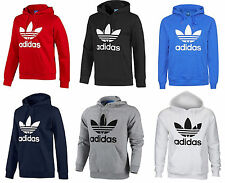 New Mens Adidas Originals Mens Trefoil Fleece Hoodie Hooded Sweatshirt Top S-XL