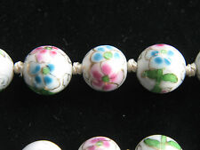 Chinese export faux cloisonne hand painted and knotted porcelain bead necklace