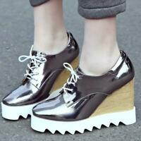 2019 Women's Square Toes Lace Up Wedge High Heel Platform Casual Shoes Pumps New