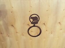 Laser Cut Steel Bath Kitchen Towel Ring Holder Home Decor Black bear grizzly blk