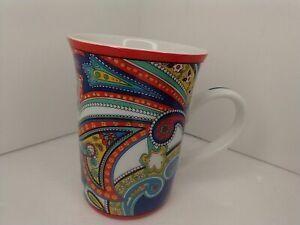 Vera Bradley Ceramic Coffee Tea Mug Cup Paisley Design