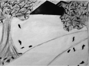 DRAWING,'DARK FALL', OIL PASTEL, CHARCOAL ON SKETCH PAD,  FREE SHIPPING!