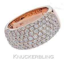 Diamond Half Eternity Wedding 10mm Wide Ring 1.65ct F VS 18ct Rose Gold