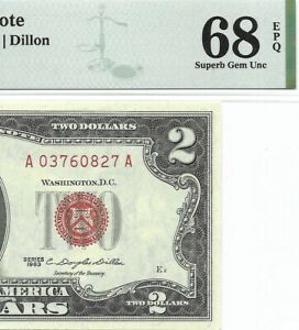 1963 $2 LEGAL TENDER, US NOTE, PMG SUPERB GEM UNCIRCULATED 68 EPQ BANKNOTE