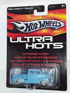 H.W. Ultra Hots , 50's Chevy Truck ( Lt Blue ) White Walls , 2005