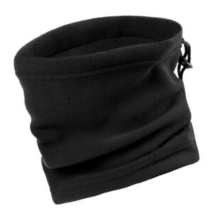 Unisex Thermal Neck Warmer Snood Scarf Tube Fleece Face Covering black
