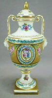 Dresden Carl Thieme Hand Painted Pink Roses Purple Ribbon & Gold 7 Inch Urn A