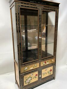 """Oriental furniture curio cabinet 40"""" Gold leaves with French lacquer cabinet"""