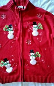 UGLY Christmas sweater Happy Snowman and beaded snowflakes Large Petite