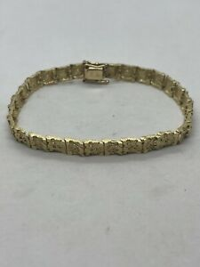 Vintage DZ 14k yellow gold hand crafted nugget style organic link bracelet 13.3g