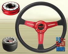 350mm Red Spoke JDM Steering Wheel+Quick Release+Hub for 96-00 Civic EK EM1
