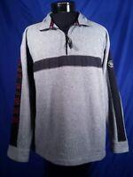 Vtg Tommy Hilfiger Fleece Jacket 1/2 Half Zip Grey Spellout Men's Size Large