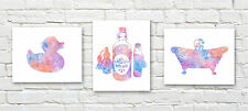 Abstract Bath Set of 3 Watercolor Bathroom Paintings 11 x 14 Art Prints by DJR