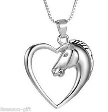 New Women Silver Hollow Heart Charm Horse Head Pendant Jewelry Necklace 52cm
