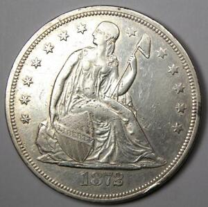1872 Seated Liberty Silver Dollar $1 - XF / AU Details- Rare Early Coin!