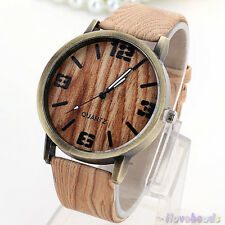Wood Style Stripe Watches Womens Fashion Vintage Waterproof Faux Leather Watch