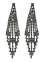 CLIP ON EARRINGS - silver chandelier earring with black crystals - Canei B