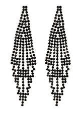 Orecchini a Clip-Argento Lampadario Orecchini con cristalli Nero-CANEI B