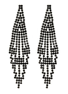 Black Clip On Earrings long chandelier drop earring with crystals - Canei B
