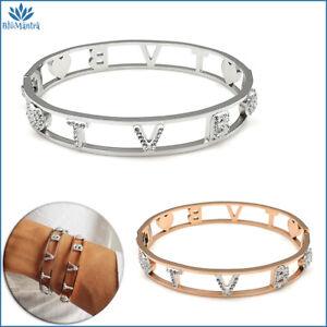 Bracciale da donna braccialetto rigido manetta con scritta TVB in acciaio per a
