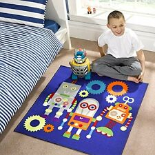 100x100cm Square Blue Robots Cool Play rug for childrens bedrooms playroom SALE