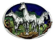 Cavallo Fibbia della Cintura American Western Animale 3 Pony Autentico C & J Fibbie