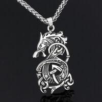 Men's Vintage Silver Norse Viking Dragon Celtic Pagan Pendant Necklace Amulet