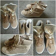Women Suede Ankle Boots Female Lace Up Casual Shoes platform Wedges Size UK 8