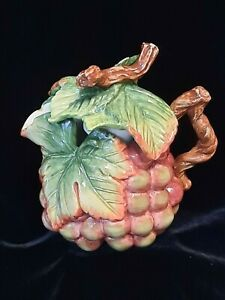Fitz & Floyd Gift Gallery Grape Shaped Mini TEAPOT - Majolica Style WITH LID