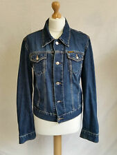 Denim Patternless Plus Size Button Coats & Jackets for Women