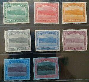 DOMINICA 1921 KG V 1/2d to 2s6d SG 62 - 70 Sc 56 - 63 wmk MSCA set 8 MLH