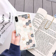 Marble Hexagon Phone Case Cover For iPhone Samsung Huawei OnePlus ETC 110-8