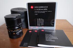 Leica Summilux-M 50mm f/1.4 Aspherical MF Lens Black. MINT