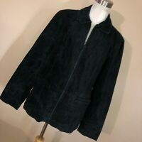 Bernardo L Large Black Leather Suede Jacket Coat Full Zip Lined Women Classic