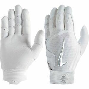 NEW Nike Huarache  Elite Batting baseball Gloves SMTH Palm Men's White Silver US